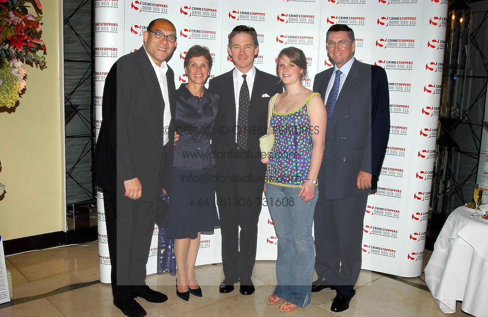 Left to right, BRUCE OLDFIELD, GEORGINA ANDREWS, Actor ANTHONY ANDREWS, his daughter AMY SAMANTHA ANDREWS and LORD ASHCROFT at a party to celebrate the publication of Bruce Oldfield's autobiography &quot;Rootless&quot; held in aid of Crimestoppers at Claridge's, Brook Street, London W1 on 22nd September 2004.<br /><br />NON EXCLUSIVE - WORLD RIGHTS