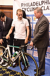 Kicking off the 2016 Philadelphia International Cycling Classic bike race weekend Mayor JIM KENNEY, joined by athletes, 2015 winner CARLOS BARBERO, race and city officials held a June 3rd, 2016 press conference at CityHall, Philadelphia Pennsylvania. Pro-cyclist will compete at a 73.8miles/118.7km course for the UCI Women's World Tour and 110.7miles/178.2km for the UCI 1.1 Men's America Tour during the Philadelphia Cycling Classic on Sunday June 5th, 2016.