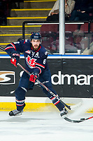 KELOWNA, BC - MARCH 7: Ty Prefontaine #6 of the Lethbridge Hurricanes passes the puck against the Kelowna Rockets during first period at Prospera Place on March 7, 2020 in Kelowna, Canada. (Photo by Marissa Baecker/Shoot the Breeze)