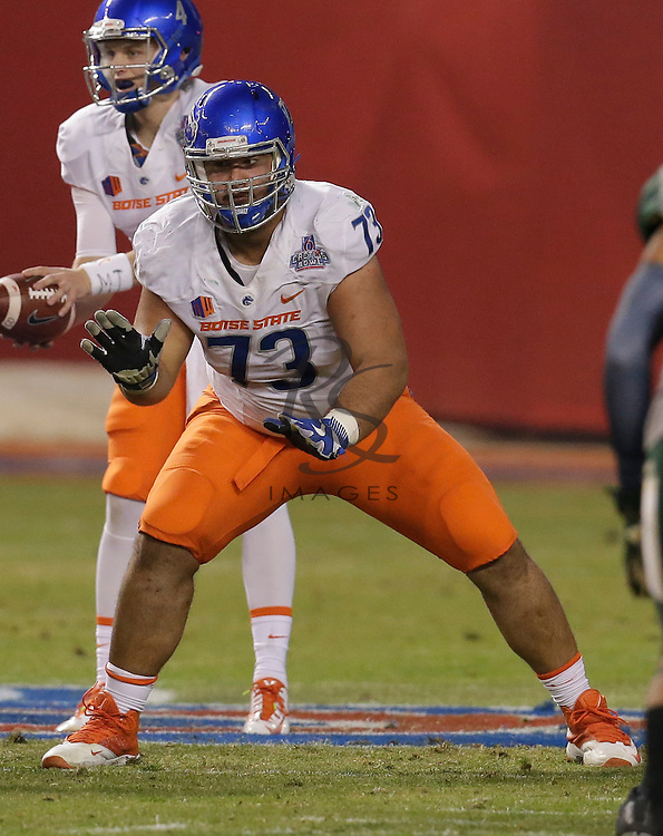 Boise State offensive lineman Travis Averill (73) during the Cactus Bowl NCAA college football game against Baylor, Tuesday, Dec. 27, 2016, in Phoenix. (AP Photo/Rick Scuteri)