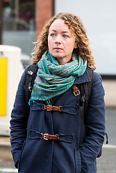 © Licensed to London News Pictures. 15/11/2017. Wakefield, UK. Kerry Maguire (daughter of Ann Maguire) arrives for the third day of the Ann Maguire inquest at Wakefield Coroners Court this morning. Mrs Maguire, a 61 year old Spanish teacher, was stabbed to death by Will Cornick at Corpus Christi Catholic College in Leeds in April 2014. The school pupil, who was 15 at the time, admitted murdering Mrs Maguire and was given a life sentence later that year. Since then, some of Mrs Maguire's family have campaigned for further investigation into her death as they believe more could have been done to prevent the tragedy. Photo credit: Andrew McCaren/LNP