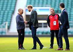 HRH Prince Harry meets England head coach Eddie Jones at an England open training session at Twickenham - Mandatory by-line: Robbie Stephenson/JMP - 16/02/2018 - RUGBY - Twickenham Stadium - London, England - England Rugby Open Training Session