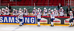04.05.2013, Globe Arena, Stockholm, SWE, IIHF, Eishockey WM, Slowenien vs Norwegen, im Bild Slovenia (Slovenien) jubel gl©dje lycka glad happy // during the IIHF Icehockey World Championship Game between Slovenia and Norway at the Ericsson Globe, Stockholm, Sweden on 2013/05/04. EXPA Pictures © 2013, PhotoCredit: EXPA/ PicAgency Skycam/ Johan Andersson *****ATTENTION - OUT OF SWE *****
