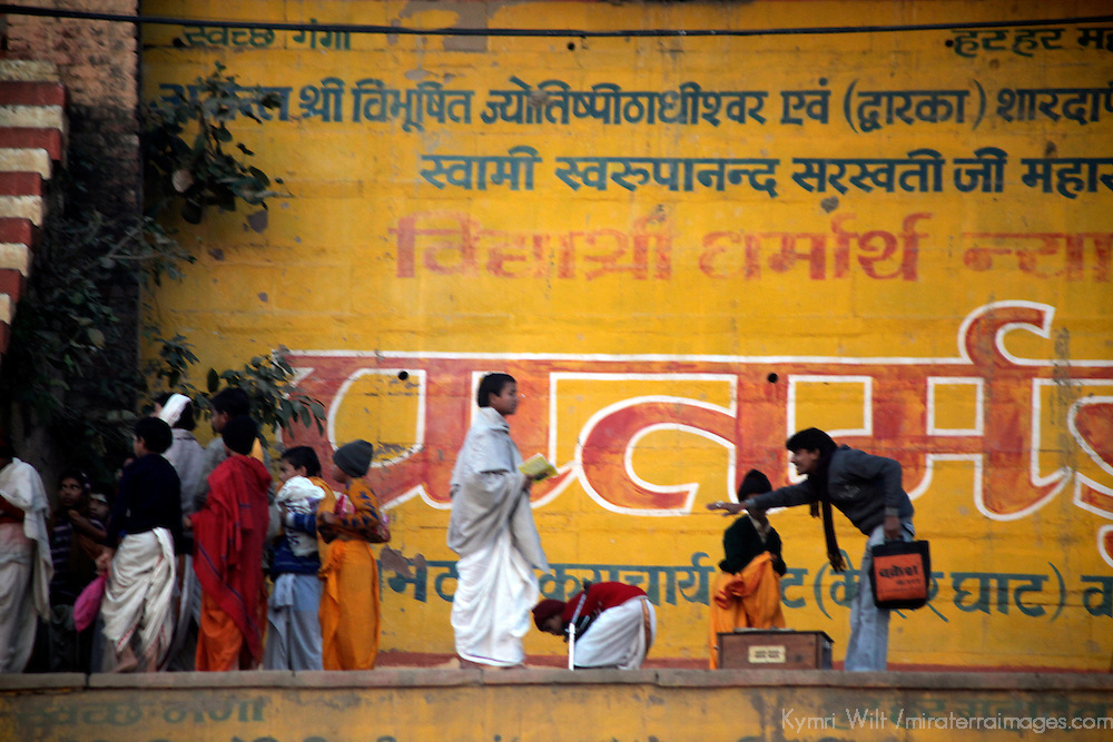 Asia, India, Varanasi. Activity at the Varanasi Ghats on the Ganges River.