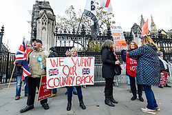 © Licensed to London News Pictures. 05/11/2019. LONDON, UK.  Leave supporters protest outside the Houses of Parliament.  Inside, MPs are making their final statements on the day before Parliament is dissolved ahead of the General Election on 12 December, where each parties stance on Brexit will have a significant affect on the voting.  Photo credit: Stephen Chung/LNP