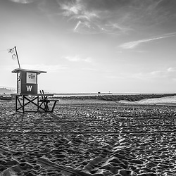 Newport Beach Wedge Lifeguard Tower W black and white photo. The Wedge at Newport Jetty is a popular surfing spot in Orange County Southern California. Copyright ⓒ 2010 Paul Velgos with All Rights Reserved.