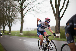 Carmen Small (USA) of Cervélo-Bigla Cycling Team follows Giorgia Bronzini (ITA) of Wiggle Hi5 Cycling Team in the breakaway in the third short lap of the first, 106.9km road race stage of Elsy Jacobs - a stage race in Luxembourg, in Steinfort on April 30, 2016