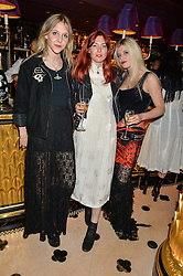 Left to right, LYZA HENDERSON, KATIE WILKES and EVIE STOCKER at a party to celebrate Pam Hogg receiving an honorary Doctorate from Glasgow University held at Park Chinois, 17 Berkeley Street, London on 11th July 2016.