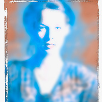 Photoshop image of blue woman