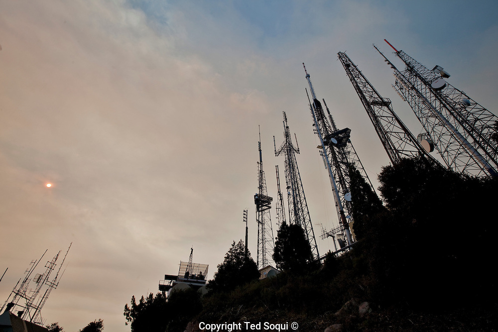 The summit of Mt Wilson radio and TV towers..