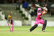Knights Peter Bocock is bowled during the Burger King Super Smash Twenty20 cricket match Knights v Stags played at Bay Oval, Mount Maunganui, New Zealand on Wednesday 27 December 2017.<br /> <br /> Copyright photo: © Bruce Lim / www.photosport.nz