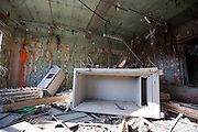 The safe at the Shizugawa branch post office lies among the debris in Minami Sanriku, Japan on Tuesday 24 May 2011. Almost 100 post office buildings were completely destroyed during the March 11 magnitude 9 quake and tsunamis that hit northeastern Japan..Photographer: Robert Gilhooly