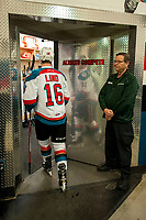 KELOWNA, CANADA - APRIL 8: Kole Lind #16 of the Kelowna Rockets enters the dressing room after warm up against the Portland Winterhawks on April 8, 2017 at Prospera Place in Kelowna, British Columbia, Canada.  (Photo by Marissa Baecker/Shoot the Breeze)  *** Local Caption ***