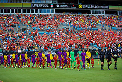 CHARLOTTE, USA - Sunday, July 22, 2018: Liverpool and Borussia Dortmund players walk out on to the field before a preseason International Champions Cup match between Borussia Dortmund and Liverpool FC at the  Bank of America Stadium. (Pic by David Rawcliffe/Propaganda)