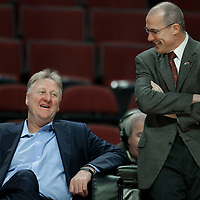 16 April 2011: Former American NBA basketball player and coach, and President of basketball operations for the Pacers, Larry Bird is seen next to John Paxson, VP of Basketball Operations for the Bulls, prior to the Chicago Bulls 104-99 victory over the Indiana Pacers, during the game 1 of the Eastern Conference first round at the United Center, Chicago, Illinois, USA.