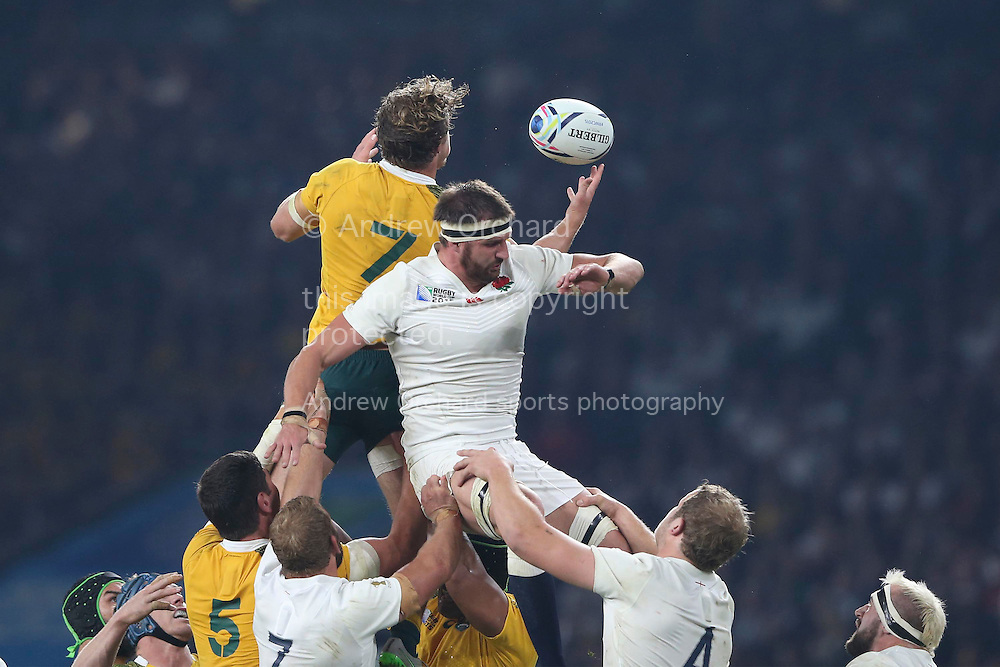 Michael Hooper of Australia claims the ball over Tom Wood of England in a lineout. Rugby World Cup 2015 pool A match, England v Australia at Twickenham Stadium in London, England  on Saturday 3rd October 2015.<br /> pic by  John Patrick Fletcher, Andrew Orchard sports photography.