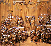 Florence, the domed cathedral of the city, Santa Maria del Fiore, known as The Duomo. Detail of the artwork