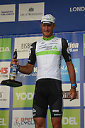 Steve Cummings of Great Britain and Team Dimension Data picks up the best British rider award during the Tour of Britain 2016 stage 8 , London, United Kingdom on 11 September 2016. Photo by Martin Cole.