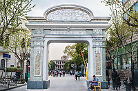 Shanghai, China - April 7, 2013: historic entrance gate of the pedestrian way of duolon road at the city of Shanghai in China on april 7th, 2013