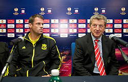 NAPELS, ITALY - Wednesday, October 20, 2010: Liverpool's Jamie Carragher and manager Roy Hodgson during a press conference ahead of the UEFA Europa League Group K match against SSC Napoli at the Stadio San Paolo. (Pic by: David Rawcliffe/Propaganda)