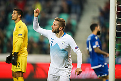 Nejc Skubic of Slovenia celebrate after scoring a goal during football match between National Teams of Slovenia and Cyprus in Final Tournament of UEFA Nations League 2019, on October 16, 2018 in SRC Stozice, Ljubljana, Slovenia. Photo by  Morgan Kristan / Sportida