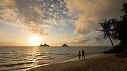 Sunrise, Lanikai Beach, Mokulua Islands, Kailua, Oahu, Hawaii