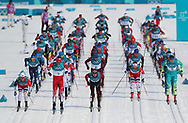 Competitors leave the start of the Men's 50km Mass Start Classic at the Alpensia Cross Country Centre during day fifteen of the PyeongChang 2018 Winter Olympic Games in South Korea.