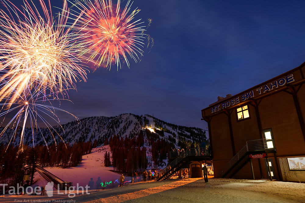 New Year's Eve fireworks at Mt. Rose Ski Tahoe.