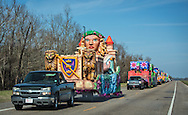 Mardi Gras floats being moved to a parade in Louisiana.