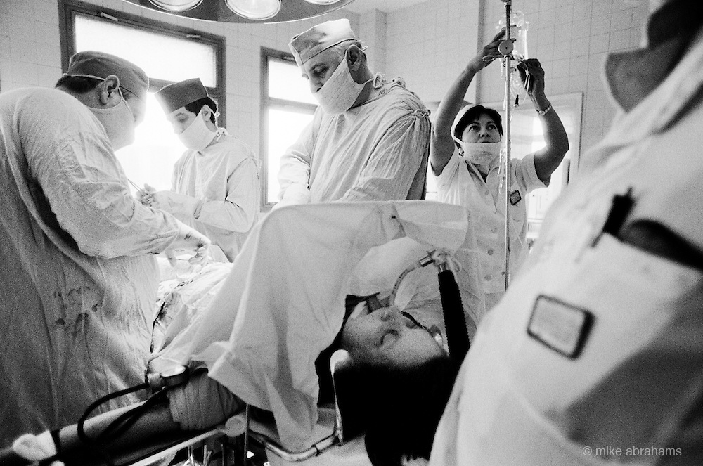 Woman anaesthatised whilst having a Caesarian section. Maternity Unit at Bucharest Hospital. Romania Feb 1990