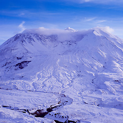 Mt. St. Helens in Winter from Johnston Ridge, Mt. St. Helens National Volcanic Monument, Washington, US