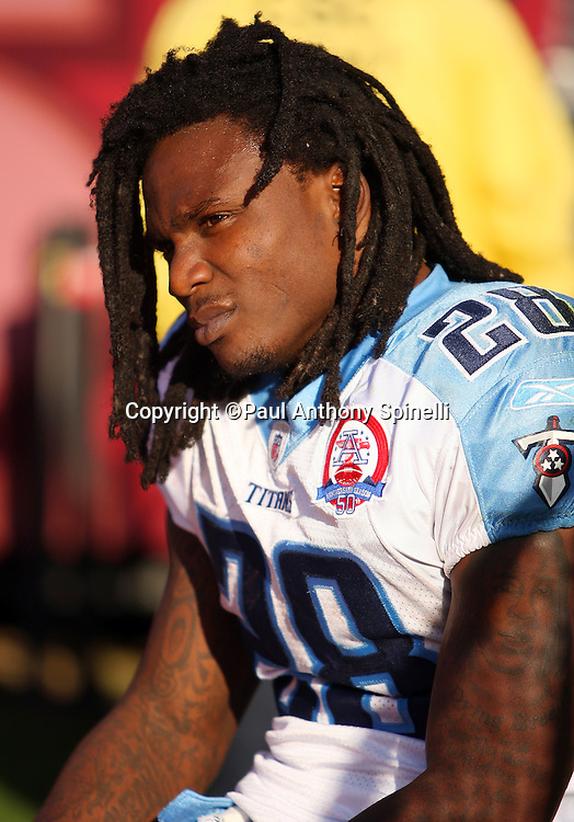 Tennessee Titans running back Chris Johnson (28) looks on while taking a bench break during the NFL football game against the San Francisco 49ers, November 8, 2009 in San Francisco, California. The Titans won the game 34-27. (©Paul Anthony Spinelli)