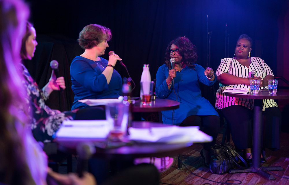 "Ald. Sheri Carter speaks with Mayor-elect Satya Rhodes-Conway during the live taping of the ""Madsplainers"" Podcast at High Noon Saloon in Madison, WI on Tuesday, April 9, 2019."