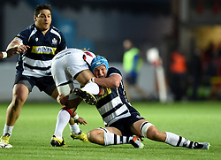 Bristol Rugby replacement Olly Robinson tackles Doncaster Knights replacement Latu Makaafi - Mandatory byline: Joe Meredith/JMP - 25/05/2016 - RUGBY UNION - Ashton Gate Stadium - Bristol, England - Bristol Rugby v Doncaster Knights - Greene King IPA Championship Play Off FINAL 2nd Leg.