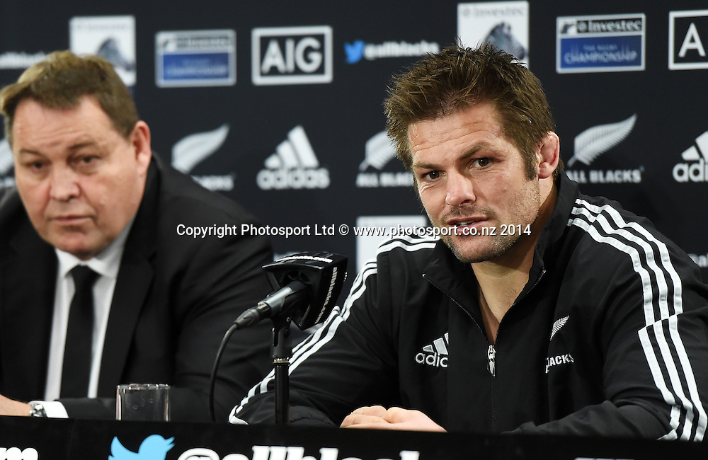 Steve Hansen adn Richie McCaw at the post match press conference. New Zealand All Blacks versus South Africa Springboks. The Rugby Championship. Rugby Union Test Match. Wellington. New Zealand. Saturday 13 September 2014. Photo: Andrew Cornaga/www.Photosport.co.nz