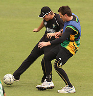 Doug Bracewell of the Central Stags and Mitchell McClenaghan of the Central Stags challenge for the ball during the Central Stags training session held at St Georges Park in Port Elizabeth on the 20 September 2010..Photo by: Shaun Roy/SPORTZPICS/CLT20
