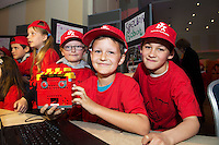 Nathan Duane, Bartek Tetor and Michael Mahon from the Claddagh NS  at the annual Junior FIRST Lego League run by Galway Education Centre, in the Radisson blu Hotel.  Photo:Andrew Downes<br />  Photo:Andrew Downes, XPOSURE