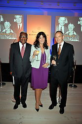 Left to right, SIR TREVOR MACDONALD, GAIL REBUCK and GRAHAM BOYES at the presentation of the Veuve Clicquot Business Woman Award 2009 hosted by Graham Boyes MD Moet Hennessy UK and presented by Sir Trevor Macdonald at The Saatchi Gallery, Duke of York's Square, Kings Road, London SW1 on 28th April 2009.