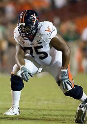 Virginia tackle Eugene Monroe (75)..The #19 Virginia Cavaliers defeated the Miami Hurricanes 48-0 at the Orange Bowl in Miami, Florida on November 10, 2007.  The game was the final game played in the Orange Bowl.