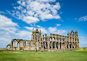 Visit spectacular Whitby Abbey which dates from 657-1538 AD, in the fishing port of Whitby, in North Yorkshire county, England, United Kingdom, Europe. This Christian monastery later became a Benedictine abbey, which was confiscated by the crown during the Dissolution of the Monasteries under Henry VIII in 1537-8. The abbey church overlooks the North Sea on East Cliff above Whitby. Whitby Abbey became famous in fiction by Bram Stoker's 1897 novel Dracula, as Dracula came ashore as a creature resembling a large dog who climbed the dramatic 199 steps leading to the ruins above the Esk River. England Coast to Coast hike day 13 of 14. [This image, commissioned by Wilderness Travel, is not available to any other agency providing group travel in the UK, but may otherwise be licensable from Tom Dempsey – please inquire at PhotoSeek.com.]