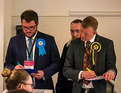 Pictured: Leith Walk Council By-Election. Edinburgh City Council, Edinburgh, Scotland, 11 April 2019. Pictured: Dan McCroskrie, Scottish Conservative and Unionist candidate.  25,526 residents are registered to vote in one of the most densely populated areas in Scotland under the Single Transferable Vote (STV) system. This is the first time in Scotland that an STV by-election has been needed to fill two vacancies in the same ward, held as a result of the resignation of Councillor Marion Donaldson. The election fielded 11 candidates, including the first ever candidate for the For Britain Movement in Scotland, Paul Stirling, founded by former UKIP leadership candidate Anne Marie Waters in March 2018.<br /> <br /> Sally Anderson   EdinburghElitemedia.co.uk