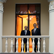Sergei Lavrov, right, Minister of Foreign Affairs, and Igor Ivanov, Minister of State Security, talk following a meeting between US President George W. Bush and the President of Russia Vladimir Putin at the Presidential Residence Sunday, May 8, 2005, in Novo Ogarevo, Russia...Photo by Khue Bui