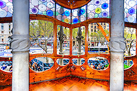 Spain, Barcelona. Casa Batlló is one of Antoni Gaudí's masterpieces. Window on the Noble Floor