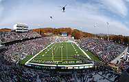 Two Army helicopters, a HH-60 and a UH-60, execute a flyover prior to the Army - Air Force game in Michie Stadium at the United States Military Academy in West Point, NY on Saturday, November 1, 2008. Air Force defeated Army 16 - 7.  CHET GORDON/Times Herald-Record