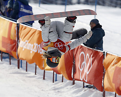 February 12, 2018 - Pyeongchang, KOREA - Chloe Kim (USA) competes in run two in the ladies halfpipe qualification during the Pyeongchang 2018 Olympic Winter Games at Phoenix Snow Park. (Credit Image: © David McIntyre via ZUMA Wire)