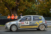 #14 Steven Quigley / Tom Hutchings Renault Clio Cup 172 BLMCC / North Humberside Motor Club Add Ebtechduring Neil Howard Memorial Stage Rally, and opening round of the 2015 Motorsport News Rally Championship.  at Oulton Park, Little Budworth, Cheshire, United Kingdom. November 07 2015. World Copyright Peter Taylor. Copy of publication required for printed pictures.  Every used picture is fee-liable. http://archive.petertaylor-photographic.co.uk