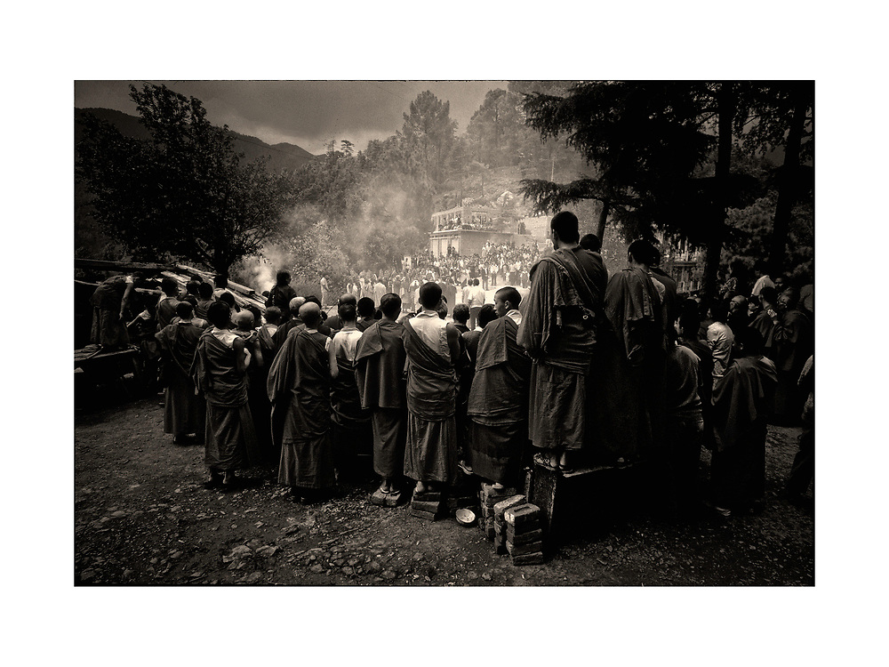 The Dalai Lama conducts a Puja in Dharamsala, India -- August 1986, Copyright Ed Hille