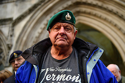 © Licensed to London News Pictures. 16/12/2016. London, UK. A former Royal Marine who threw his badges on to the floor in protest, following a bail hearing for her husband, Sgt Alexander Blackman, who is currently serving a life sentence after being convicted of murdering a wounded Taliban fighter in Afghanistan in 2011. Photo credit: Ben Cawthra/LNP