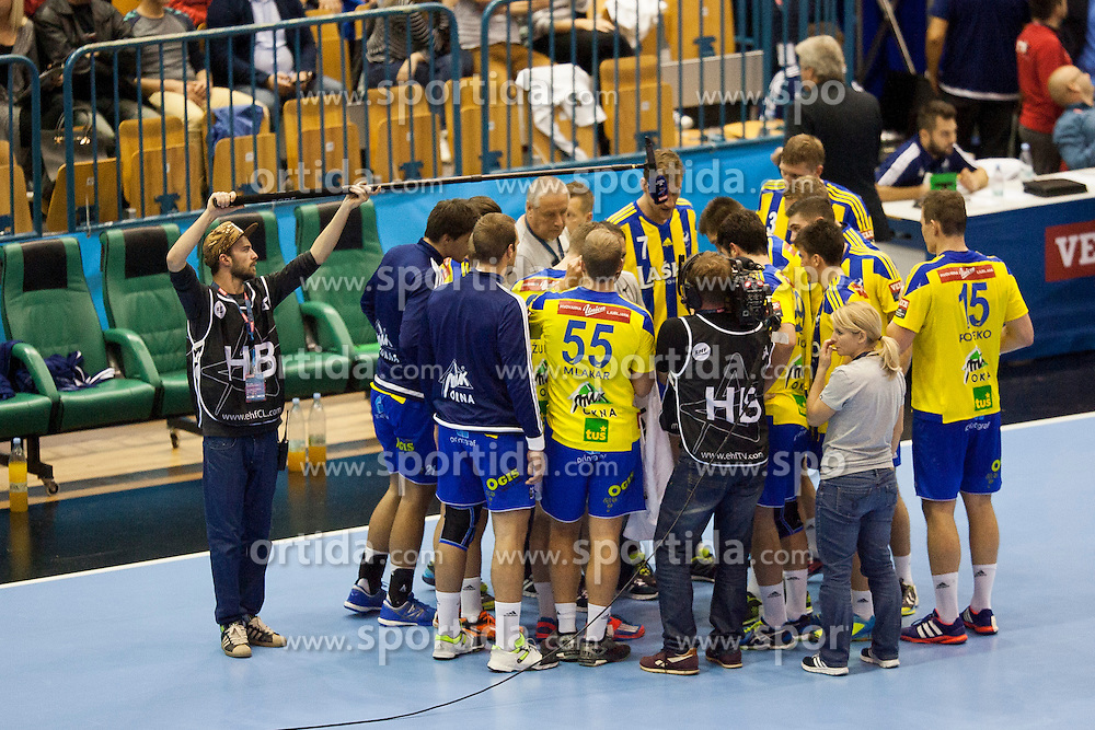 Players of RK Celje Pivovarna Lasko during handball match between RK Celje Pivovarna Lasko (SLO) and Paris Saint-Germain (FRA) in Round #5 of Group Phase of EHF Champions League 2015/16, on October 18, 2015 in Arena Zlatorog, Celje, Slovenia. Photo by Urban Urbanc / Sportida
