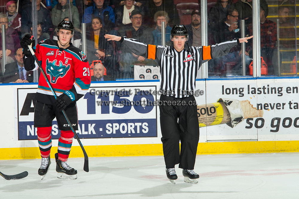KELOWNA, CANADA - DECEMBER 7: Referee Stephen Campbell calls no goal after review by video goal judges   on December 7, 2018 at Prospera Place in Kelowna, British Columbia, Canada.  (Photo by Marissa Baecker/Shoot the Breeze)